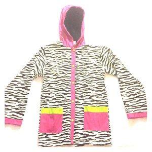 A girls zebra print rain jacket